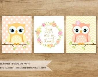 Owl Print. Nursery Print. Cute Owl Print. Owls. Nursery Wall Decor. Baby Girl. Owl. Owl Nursery Art.Nursery Art. Baby Gift. Nursery Decor.