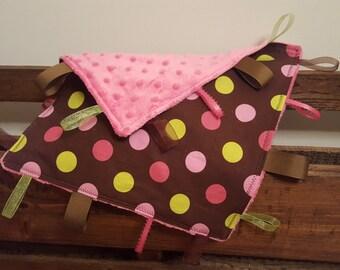 Polka Dot Tag Blanket - Sensory Blanket - Lovey