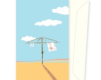 Blue Sky Hills Hoist greeting card