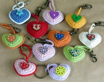 Crocheted Heart Key Ring