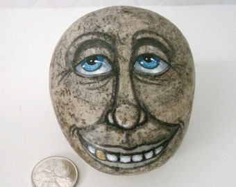face on rock,Creepy face,Stone face, painted rock,Garden decor,funny rock face,creepy rock head,gag gift,fairy garden,fun gift,smiling rock