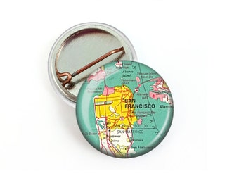 San Francisco Map Pin Button 1.25 Inch Diameter