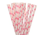 Paper Straws, Hot Pink Heart Paper Straws, Hot Pink Party Supplies, Valentine's Party Decor, Engagment Party Decor, Pink Wedding Paper Straw