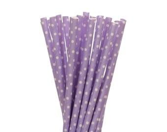 Paper Straws, Lavendar Polka Dot Paper Straws, Lavendar Birthday Party Paper Straws, Spring Party Decor, Polkadot Bridal Shower Paper Straws