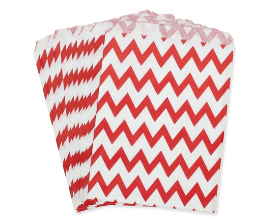 Party Favor Bag, Paper Favor Bags, Red Chevron Favor Bags, Red Wedding Favor, 1st Birthday Favor Bags, Baby Shower Favors, Christmas Party
