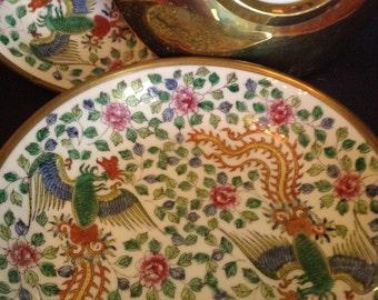 """Set of Three Vintage Brass Encased Decorative Porcelain 9"""" Bowls"""