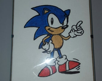 Hand Drawn Sonic The Hedgehog Canvas