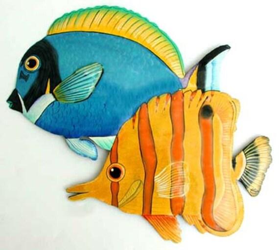 Tropical fish art metal wall art painted metal arttropical for Metal fish art wall decor
