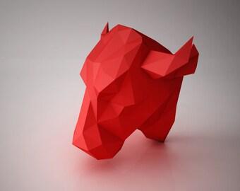 DIY PAPER SCULPTURES  - Bull Head Trophy Template