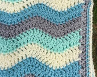 Handmade Crochet Ripple Baby Blanket