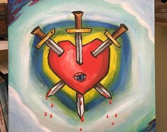 Tres de espadas. Three of spades. Corazón, sacred heart.