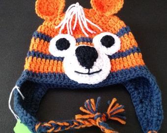 Crochet tiger hat with ear flaps