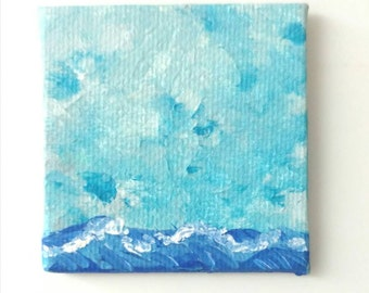 Miniature wave painting, abstract, ocean painting