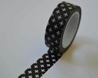 Black and white cross washi tape 10m