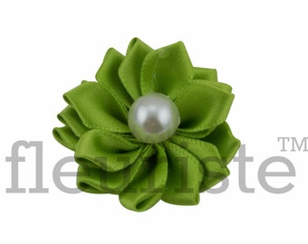 LIME Ribbon Flower With Pearl, Satin flower, Fabric rose, Rolled Rosette, Wholesale Flower, Fabric Flower, Satin Flower, 3pc