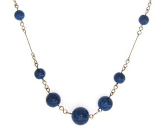 Vintage 1930s Necklace | Beaded Necklace | Blue Necklace | Art Deco Necklace | Glass Necklace | Rolled Gold Necklace | Round Beads