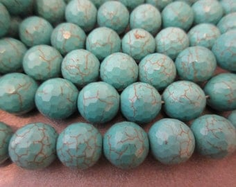 Magnesite Turquoise Faceted Round 14mm Beads 29pcs