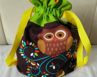 Owl - small drawstring project bag