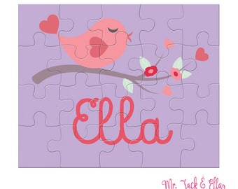 Valentine Bird Puzzle - Personalized Puzzle for Kids - Children Puzzles - Jigsaw Puzzle - Personalized Name Puzzle - 8 x 10 puzzle - Gift