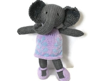 READY TO SHIP Elephant Doll, Knit Toy, Animal Toy, Small Stuffed Animal, Baby Girl Gift, Gift For Girl, Plush Elephant, Elephant in Dress, G