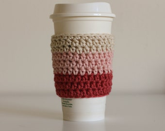 Ombre pink coffee cozy, pastel pink coffee cozy, coffee cup sleeve, coffee cup cozy, ready to ship, vegan, cotton coffee cozy, soft gunge