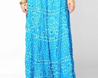 Rajasthani Printed BlueCotton Long Skirts