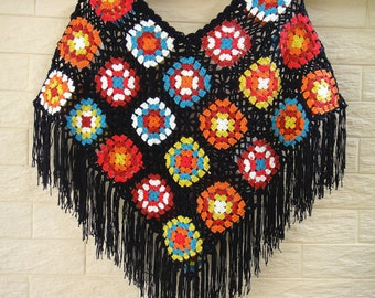 Granny Square Crochet Ponchos with Black Fringes