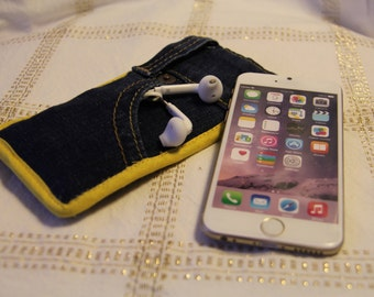 Levi Jeans iPhone Cover - With Yellow Stitching - Fits other phones - High Quality Denim - Sleeve