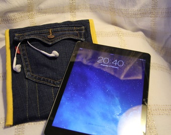 Levi Jeans iPad/Tablet/Reader Cover - With Yellow Stitching - Fits other tablets - High Quality Denim - Sleeve