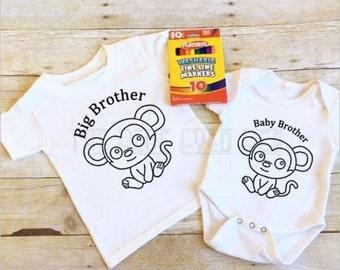 Big Brother, Baby Brother Shirts, Coloring Shirts, Custom Shirts,---SET OF 2