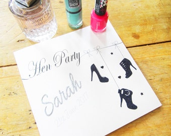 Personalised Hen Party Card - Glittered Name & Shoes Design P16-60