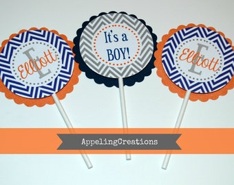 Its A Boy Cupcake Toppers, Baby Shower Cupcake Toppers, Boy Baby Shower, Personalized Baby Boy Cupcake Toppers, Its a Boy, Chevron Toppers