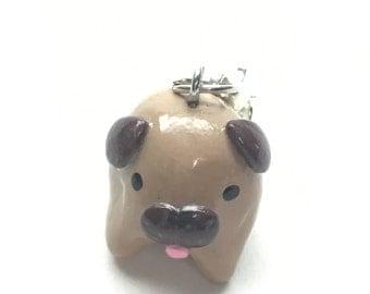 Polymer Clay Fawn Pug Charm
