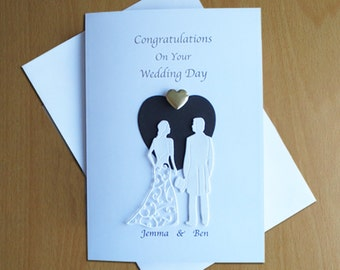 A5 Personalised Wedding Day Card Gold Foil