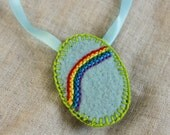 Rainbow Embroidered Felt Pendant Necklace Decoration