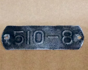 Vintage Utility Pole Marker Small Tin with mounting holes.