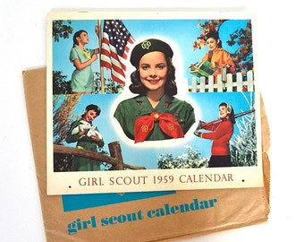 vintage 1959 Girl Scout calendar Girl Scouts of the U.S.A. wall calendar Girl Scout memorabilia