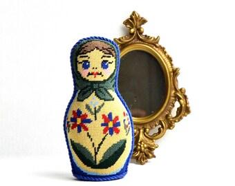 colorful needlepoint matryoshka russian doll , vintage matroshka doll