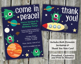 Cute Aliens Children's Birthday Party Invitation   Invitation + Thank You Notes   Editable PDF Instant Download   Edit & Print In Minutes!