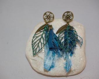 Bohemian, bronze and blue earrings