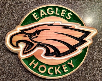Eagles Hockey Carved Wooden Sign