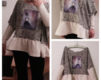 Grey cotton T shirt with wool sleeves and ruffles and my art work on it!The canvas painting with game of fantasy  becomes a special clothes!