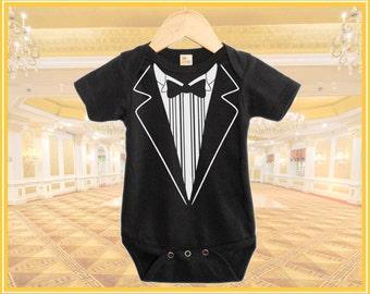 Classic Baby Tuxedo Black onesie Baby Gift Tuxedo Onesie, Printed White on Black Onesie
