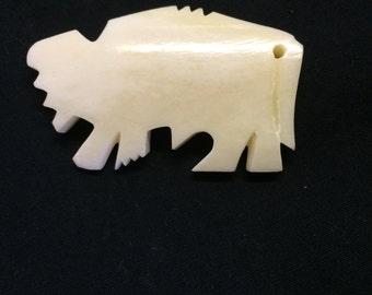 Bone Buffalo Pendants. 5 pieces.