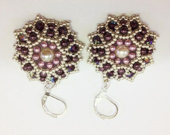 Pearls and Swarovski crystal earrings