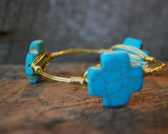 Turquoise Wire Wrapped Bangle