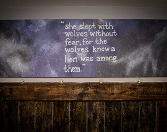 She Slept with Wolves - Custom Handmade Art Canvas - ANY QUOTE/DESIGN available on request!