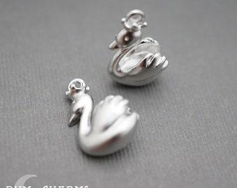 0457 - Pendant Connector, Matte Original Rhodium Plated, Miniature 3D Crown Swan Charm Pendant, 2 Pieces