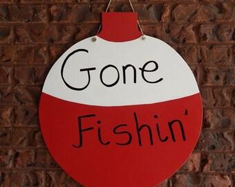 Gone Fishing Cork Door Hanger