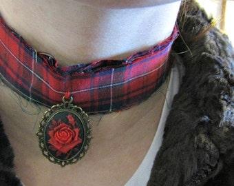Punk Rock Rose Choker Necklace